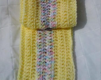 crochet yellow and variegated scarf