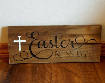 Easter Blessings wood sign, Easter wall art, Easter sign, Easter decoration, Spring wall art,