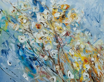 White Flowers oil on canvas painting Thick Layer Impasto Abstract flowers oil painting Large oil painting Original painting