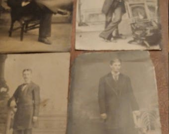 More Pretty Boys:  Lot of 4 Antique Tintype Photographs of Handsome and Well-Dressed Men
