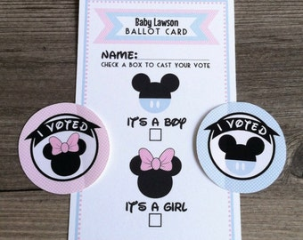 Gender Reveal Voting Ballots and I VOTED stickers - Pink, Blue - Personalized - Baby Minnie, Baby Mickey - set of 12 ballots & 24 stickers