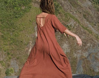 "khadi woman long free dress ""breathing"""