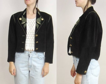 vintage 80s 90s Cropped Suede Leather embroidered applique jacket S M