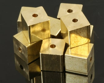 "Raw brass cube stamping cube 8 x 8 mm square cube rod industrial design (2 mm 5/64"" 13 gauge hole ) 1551"