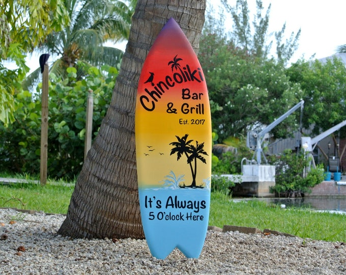 Tiki bar decor sign. Custom Family oasis sign. Housewarming gift for mom. Beach house decor Its 5 O'clock somewhere.