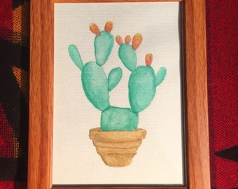 Opuntia Cactus-Framed Watercolor Original