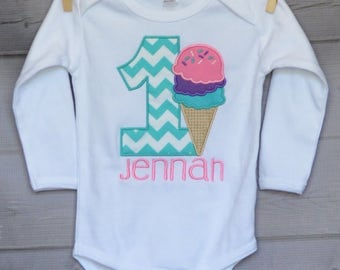 Personalized Birthday Ice Cream Cone Applique Shirt or bodysuit Girl