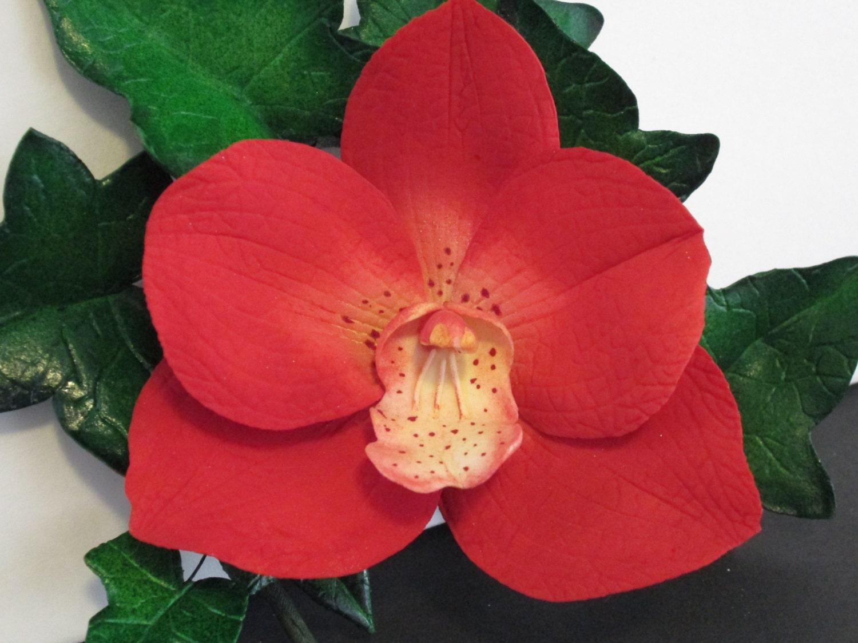 Red Vanda Orchid Cake Topper Spray Sugar Edible Gum Paste