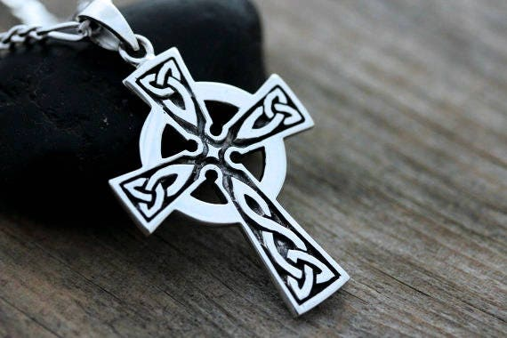 Mens celtic cross necklace fathers day gift sterling silver like this item mozeypictures Choice Image