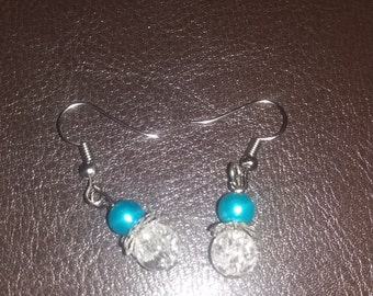 hand made silver plate bead earings