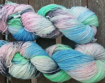 Hand Dyed socks Wool glitter candy