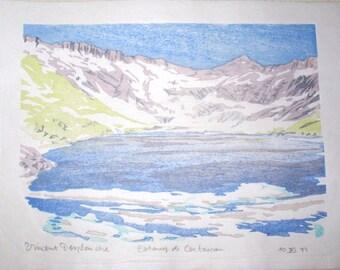 Estany de Certascan - Pyrenees mountains Spain - hand pulled moku hanga woodblock print