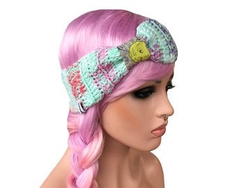 Crochet Headband Bow Turban Hippe Gypsy Ear Warmer