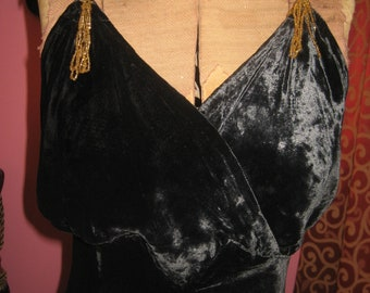 """1930's, 32"""" bust, black silk velvet gown, bias cut full length."""