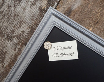 SET Magnetic Chalkboard Distressed Parisian Grey Vintage Style Frame - Magnetic Board - Magnetic Board Set - Magnet Set - Gray Chalkboard