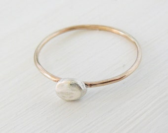 Lucky Nugget Ring, 14kt gold filled sterling silver stacking skinny ring thin stacker bridal party minimal knuckle ring
