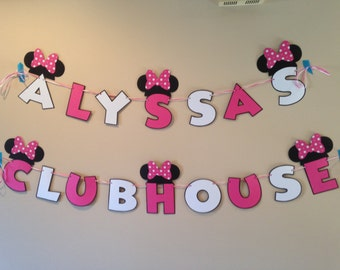 Minnie Mouse Clubhouse Banner Personal Name Minnie  party Birthday Minnie Mouse Party Minnie Banner Minnie Party Minnie Mouse Decoration