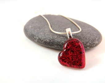 Heart Jewelry - Fused Glass Necklace - Bright Red Glass Heart -  Be Mine