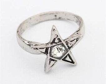 Cute Silver tone Star Ring