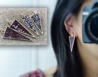 Triangle Clip On Earrings, Red Gris White Black. Non Pierced Earrings, Invisible Clip On Earrings, Pierced Look. Clip Earrings