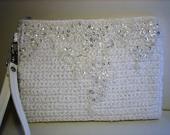 White Beaded Crochet Clutch, Beaded Bridal Clutch, White Bridal Clutch, Bridal Purse, Crochet Bridal Clutch, Wedding Clutch, White Bridesmai