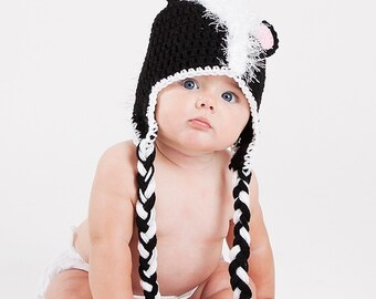 Skunk Earflap Hat - Photo Prop - Any Size
