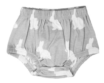 Organic Cotton Grey & White Bunnies Baby Bloomers - Gray Bunny Diaper Cover