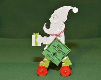 Santa Claus Toy on Wheels Vintage Style 3D Printed Plastic Holiday Christmas White Green