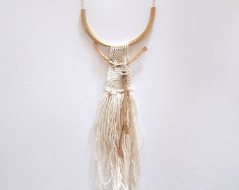 Woven Pendant - fiber jewelry - textile necklace // WHITE AZTEC NECKLACE  // hammered brass necklace
