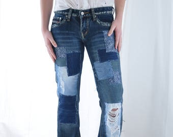 Patched LEVIS 501 Redline Jeans 30 Waist Selvedge Denim Apcycled Reworked Vintage Patched  Jeans redone one of a kind patch