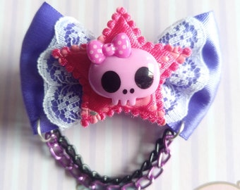 Pink Purple or Black Skull Star Bow Hair Clip