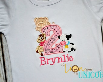 Girl Barnyard Birthday with Name (number can be changed)
