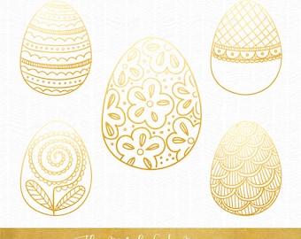 Golden Easter Egg Clipart - INSTANT DOWNLOAD - 9 .PNG Images