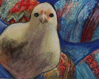original art  aceo drawing colorful chick eggs