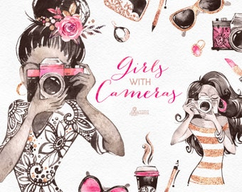 Girls With Cameras. Watercolor Clipart, photographer, logo, fashion, glam, handbag, stickers, shoes, sunglasses, gold, brand, boutique, gl1
