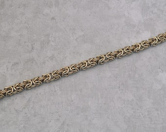Sterling silver Byzantine chain maille bracelet with twist wire rings