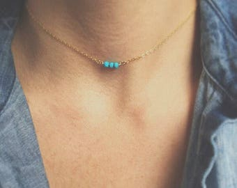 Tiny Turquoise Choker Necklace Tiny Beaded Necklace Thin Choker  Gemstone Choker Necklace Turquoise Necklace Boho Jewelry Mother's Day Gift