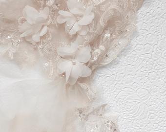 Juliet Cap Veil, Wedding Veil with 3D Floral Lace, Bohemian Wedding Veil, Boho Wedding, Boho Veil, Lace Wedding Veil