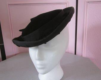 IRENE OF NY Black Silk Velvet Hat with Black Grosgrain Ribbon