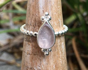 Rough Rose Quartz Ring - Raw Natural Stone surrounded by Silver Drops on a Sterling Silver Band