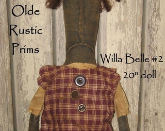 "Willa Belle Primitive 20"" Black Doll IMMEDIATELY DOWNLOADABLE E-PATTERN"