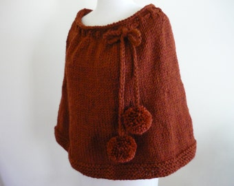 Knit Capelet Shoulder Wrap Poncho Cape Spice Chunky Wool Blend Fall Winter Accessory - Ready to Ship - Direct Checkout - Gift for Her