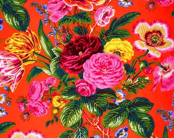 Spring 2017 - Summer Bouquet Red - Philip Jacobs - Kaffe Fassett - PWPJ063 - 100% Quilters Cotton