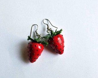 Strawberry Earrings Red Earrings Fruit Earrings - Gifts for her