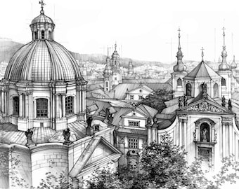 Prague rooftops ORIGINAL DRAWING by Katarzyna Kmiecik / Czech Prague, architecture art, urban sketch, city view, pencil drawing, old town