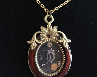 Steampunk picture window necklace
