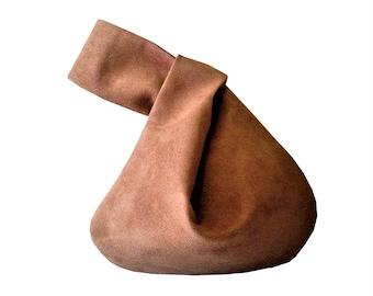Mini Faux Suede Knot Bag, Japanese Knot Bag, Knot Style Purses, Faux Suede Bags, Wristlet Clutch Bags, Vegan Bags