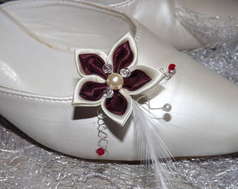 Ivory and Burgundy wedding shoe clips