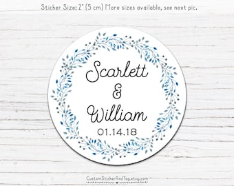 30 wedding stickers, watercolor border in blue and grey tones, custom sticker, favor labels, round sticker, envelope seals (S-32)