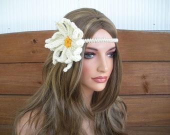 Crochet Headband Boho Headband Hippie Accessories Women Headband Daisy Flower Headband in Light beige